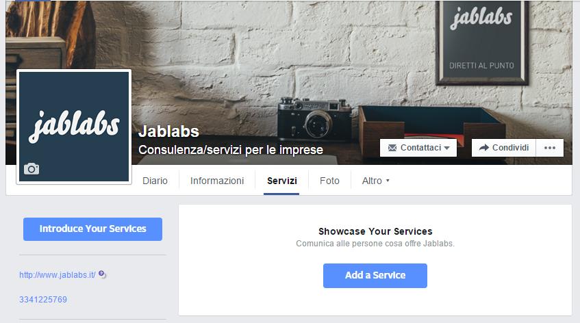 Vista della scheda servizi sulle fanpage aziendali Facebook